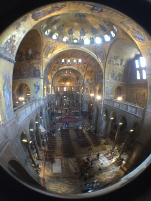 A birds eye view inside St. Marks Cathedral, Venice, Italy